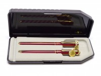 Rare Unique Reform W. Germany Red & Gold 23K Gold Plated Striped Special F Two Toned Nib Cartridge Fountain & Ballpoint Pen Set in Box
