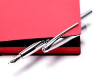 Cross ATX Pure Matte Chrome Silver Stainless Steel M Medium Nib Converter Fountain Pen in Box + 2 Cartridges