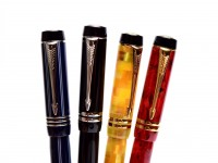 UK PARKER Duofold International Centennial MKII/MKIII Check Citrine Jasper Red Pinstripe Blue Platinum Black Fountain Pens