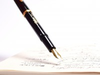 Vintage Reform Calligraph Black Resin & Gold Plate Trims 2.3 Steel Nib Piston Fountain Pen