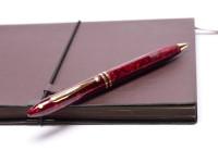Vintage 1990s Sheaffer Balance II (2) Acrylic Marble Crimson Glow Ruby Bordeaux Red 22K Gold Plated Trim Twist Ballpoint Pen
