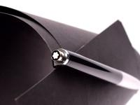 1970's Montblanc Carrera 592 Vintage Push Button Mechanism Black Resin & Matte Chrome Ballpoint Pen