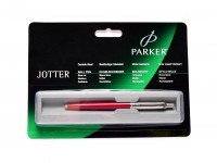NOS New Parker Jotter Red & Silver Steel Push Button Ballpoint Pen in Presentation Box Made in UK