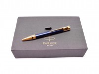 NOS New Parker Duofold Prestige GT Royal Blue Lacquer Chevron Pattern & 23K Gold Plate Twist Mechanism Ballpoint Pen in Box