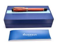 Massive Oversize 1994 Waterman Liaison Ebonite Orange Wood Woodgrain & Gold Ballpoint / Rollerball / Fineliner Pen Paris France in Box