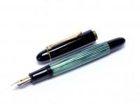 1956 Pelikan 140 Tortoise Green Striped Gunther Wagner 14K Gold Flexible EF Nib Piston Fountain Pen