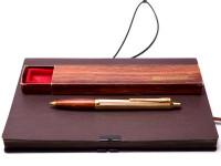 Vintage Ballograf Epoca Wooden Section & Gold Plate Push Button Ballpoint Pen in Case