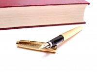NOS in Box Stunning 1990s PARKER 75 GODRON 14K Gold F Fine Nib Made in France Fountain Pen