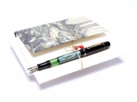 Original Never Used 1942-44 Pelikan 100N Celluloid & Ebonite Green Marbled F to BB Super Flexible CN Nib Piston Fountain Pen From an Amazing Attic Find