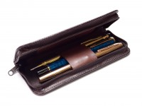 Vintage Mercedes Benz Chocolate Brown Leatherette Zipper Pouch Pen Holder for 3 Fountain Rollerball or Ballpoint Pens