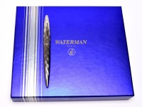 NOS Amazing Waterman Carene/CARÈNE ESSENTIAL SILVER ST Wave Ballpoint Pen In Box With Notepad Made in France