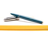 1990s HERO 100 Turquoise Blue & Silver Aeromatic 14K Gold F Fine Nib Fountain Pen
