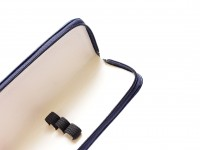 Vintage High Quality MEGA Leatherette Navy Blue Pouch for 3 Fountain Ballpoint Pens & Pencils