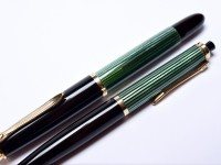 1950s Pelikan 400NN & 450 Tortoise Green Striped Fountain Pen and Mechanical Pencil Set in Crocodile Skin Pouch