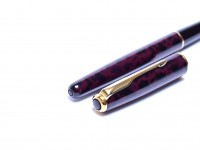 1994 Parker Sonnet Laque/Lacquer Autumn Marble Red Gold Trim M Medium Nib Fountain Pen Made in France