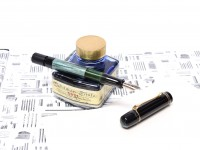 Original Never Used 1939-42 Pelikan 100 Celluloid & Ebonite Green Marbled EF to BB Super Flexible CN Nib Piston Fountain Pen From an Amazing Attic Find