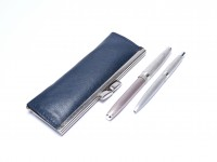 Vintage 1960s Lady SENATOR Germany Brushed Silver Plated F Fine Steel Nib Fountain & Ballpoint Pen Set in Teal Blue Leather Pouch