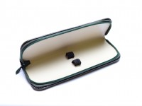 Vintage High Quality MEGA Green & Beige Genuine Leather Pouch Case for 2 Fountain Ballpoint Pens & Pencils