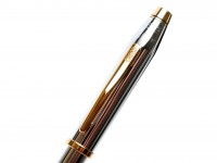 1990s CROSS Townsend Made in USA Steel Chrome & Gold Fountain Pen