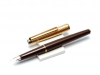 Vintage Oversize 1980's Reform Brown & Gold Filled Cap Special 14K 585 KEF Solid Gold Nib Cartridge Fountain Pen
