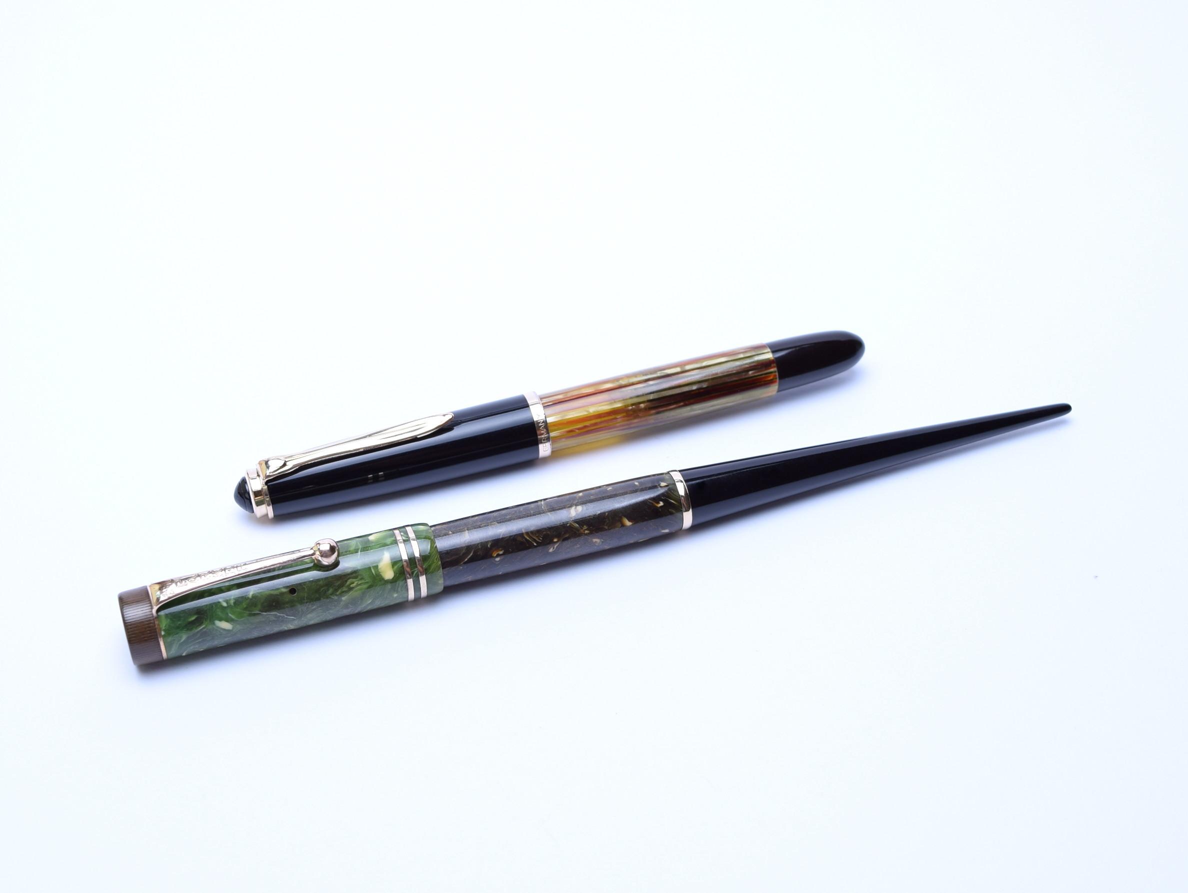 1930s parker duofold jade green lucky curve desk pen push button fountain pen flex 14k gold nib