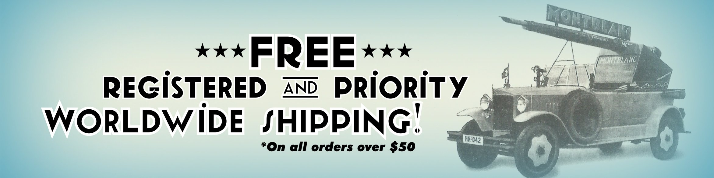 Free registered and priority worldwide shipping