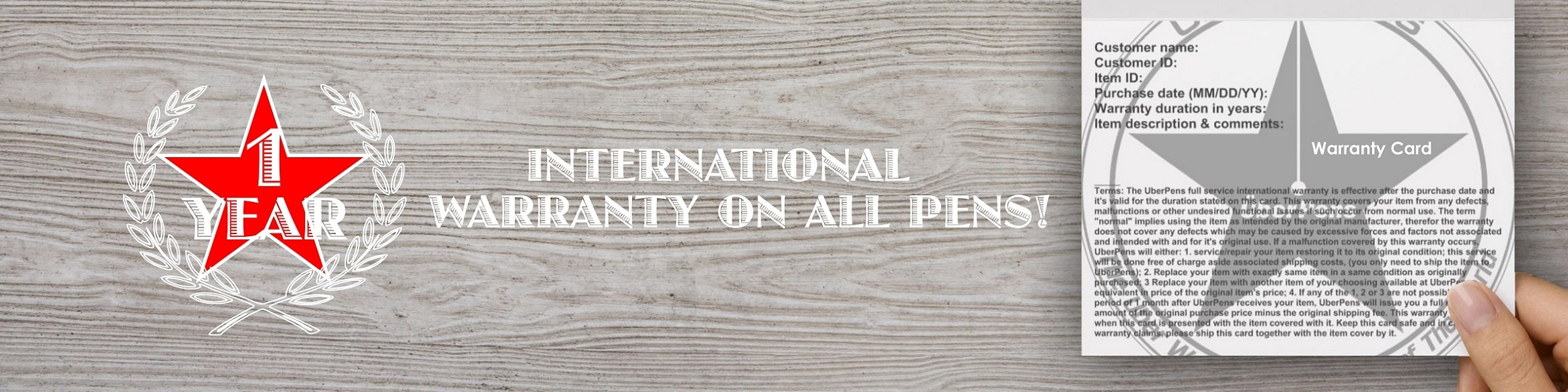 1 year international warranty on all pens